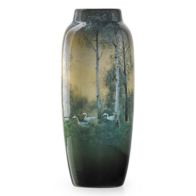 Kataro Shirayamadani, 'Fine Iris Glaze vase with geese in landscape with birch trees, Cincinnati, OH', 1909, Rago