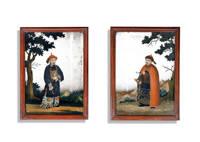 , 'Pair of Chinese Export Reverse Mirror Paintings,' ca. 1750, Thomas Coulborn & Sons
