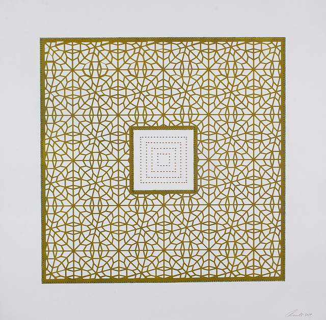 Anila Quayyum Agha, 'Flowers (Pea Green Square)', 2017, Drawing, Collage or other Work on Paper, Mixed media on paper (encaustic pea-green square with brown beads in center), Sundaram Tagore Gallery