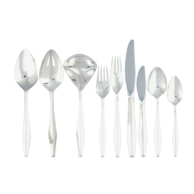 Gio Ponti, '137-piece sterling silver five-piece Diamond flatware set for twenty-four with twelve butter spreaders and five serving pieces, Taunton, MA', Rago