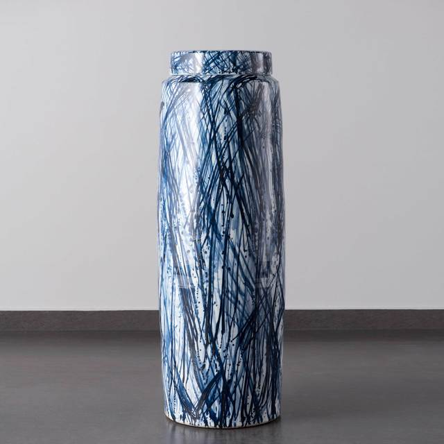 Felicity Aylieff, 'Blue & White Monumental Scribble Lidded Vase', 2018, Design/Decorative Art, Thrown and glazed porcelain, hand-painted with cobalt blue oxide, Adrian Sassoon