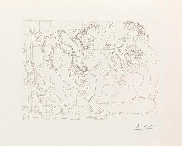 """Pablo Picasso, 'Sculptur, Garçon et Modèle avec un Groupe Sculpté Représentant le Rapt d'Europe', March 30-1933, Print, Original etching printed in black ink on Montval laid paper bearing the """"Vollard"""" watermark, Galerie d'Orsay"""