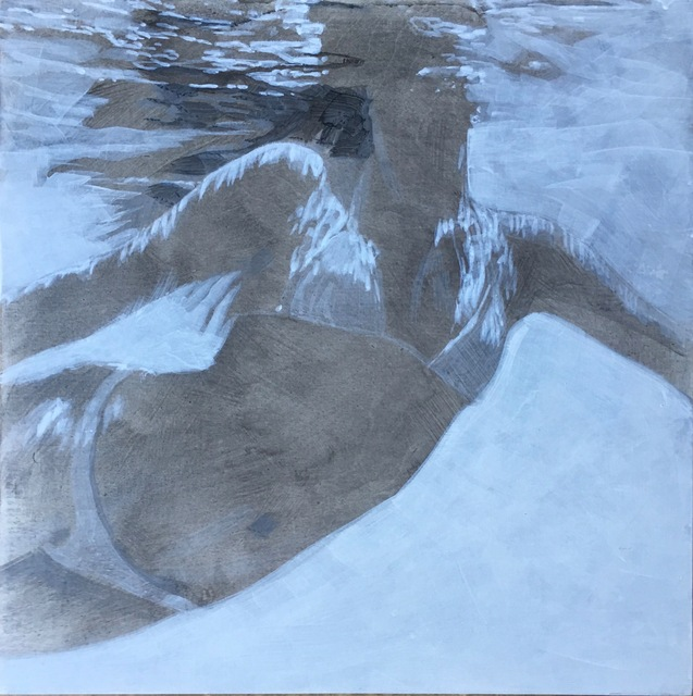 """Carol Bennett, '""""Amy Being Cool"""" black and white oil painting of a woman swimming underwater', 2019, Eisenhauer Gallery"""