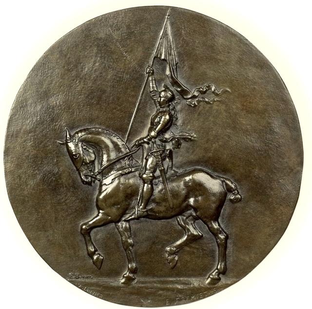 , 'Medallic Relief of the Sculpture: Jeanne d'Arc équestre, circa, 1900,' 1900, Martin du Louvre