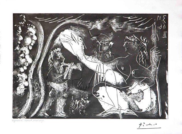 Pablo Picasso, 'Au Theatre: Couple Avec un Flutiste et un Petit Chien, from the 60 Series', 1966, Leslie Sacks Gallery