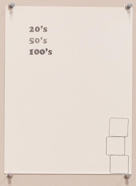 , 'Untitled (20's, 50's, 100's),' 2016, Diane Rosenstein