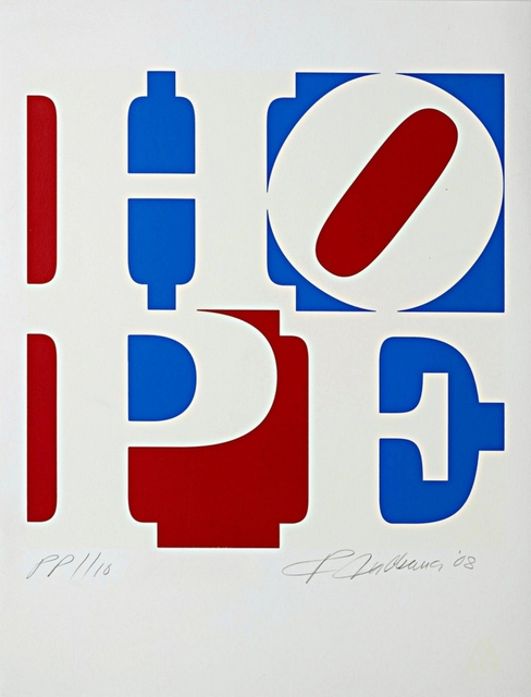 Robert Indiana, 'Hope, from Artists for Obama', 2008, Print, Silkscreen on 100% Rag Acid Free Paper with blind stamp, Alpha 137 Gallery