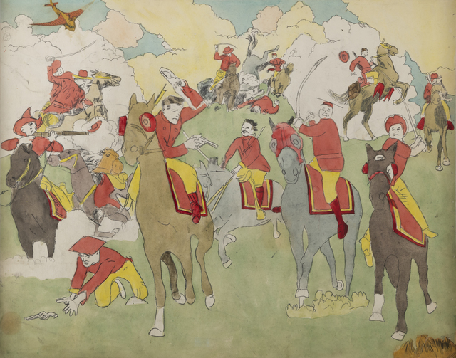 Henry Darger, 'Near Pandanoan, Vivian Girls cornered and captured... Battle Scene on Horseback', n.d., Drawing, Collage or other Work on Paper, Double-sided watercolor, graphite and carbon tracing on paper, Andrew Edlin Gallery