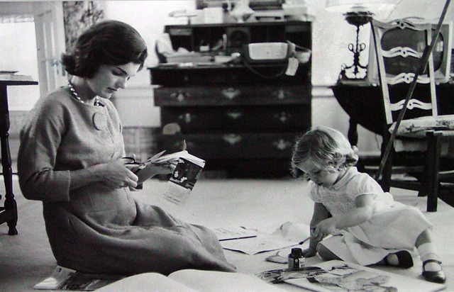 Alfred Eisenstaedt, 'Jacqueline Kennedy, Wife of Senator with Scissors Cutting Out Newspaper Clippings Next to Open Scrapbook as Her Young Daughter Caroline Toys with the Applicator from a Glue Bottle, At Home, Hyannis Port, MA', 1960, Contessa Gallery