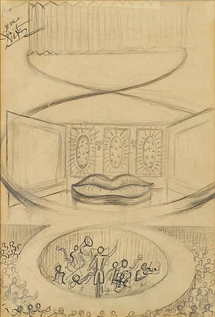 Salvador Dalí, 'Théâtre et scène Saliva Sofa', 1937, Drawing, Collage or other Work on Paper, Ink and pencil on paper, Omer Tiroche Gallery