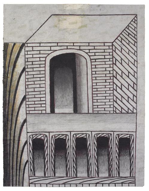 Martín Ramírez, 'Untitled (Brick Structure with Arches)', ca. 1960, Ricco/Maresca Gallery