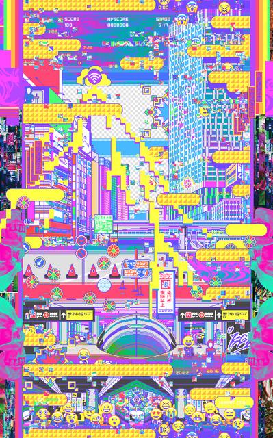 Yoshinori Tanaka, 'Reimei Tsushin Ayakashi no zu ', 2019, Mixed Media, Giclee, silkscreen, glitter, gloss on canvas, Gallery Tokyoite