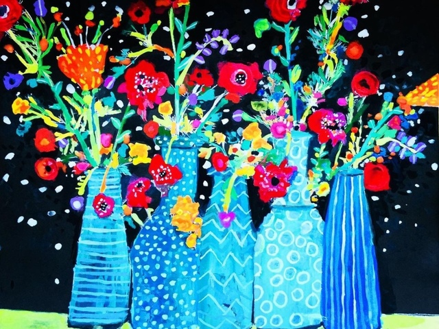Andee Axe, 'Flowers in Vases', 2020, Painting, Acrylic, canvas,  glitter, resin, The Illustrated Gallery
