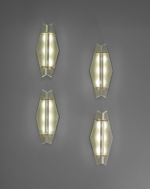 Max Ingrand, 'Set of four wall lights, model no. 1943', ca. 1960s, Design/Decorative Art, Frosted glass, brass, painted aluminium, Phillips