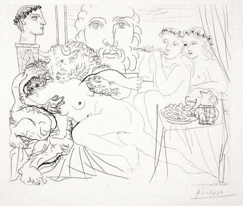 Pablo Picasso, 'Autoportrait Trois Formes : Peintre couronné, Sculpteur en Buste et Minotaure amoureux (S.V. 84)', 1933, Print, Etching, John Szoke
