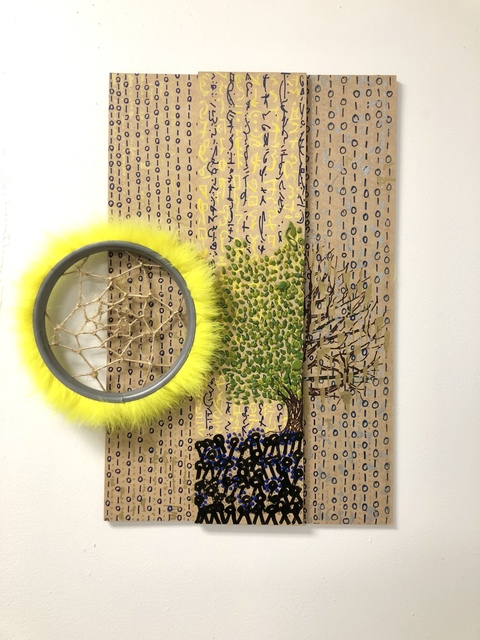 Musa Hixon, 'Filterless View', 2018, Mixed Media, Wood, Acrylic, Ink, Feathers, Rush Philanthropic Arts Foundation Benefit Auction