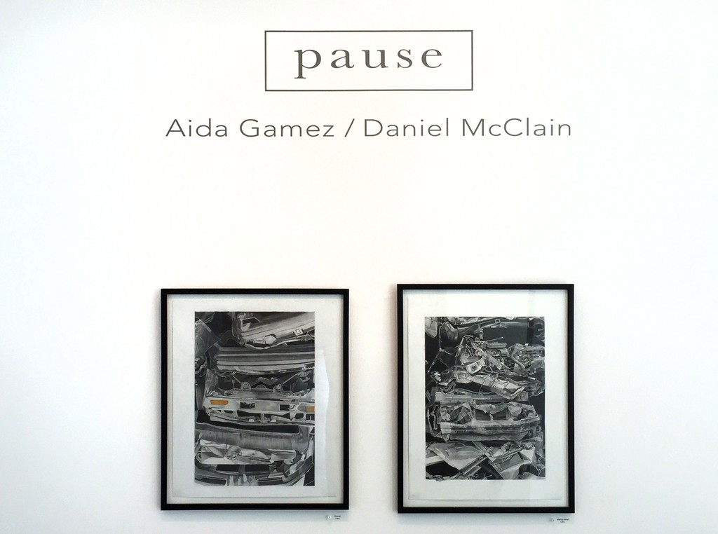 "Two drawings by Aida Gamez open up ""PAUSE,"" on view at Transmission Gallery June 2 - July 22, 2017,  left, ""Crush"" and right, ""Mashed Metal."""