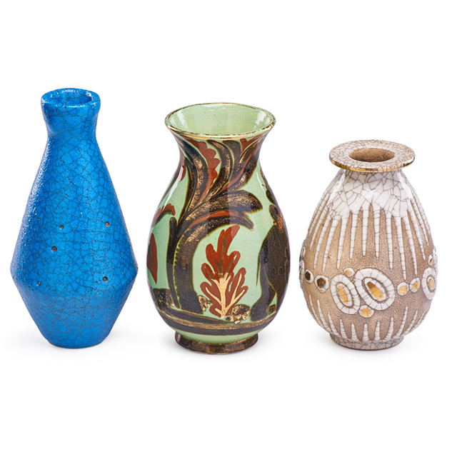 René Buthaud, 'Three Vases, France', Early to mid-20th C., Rago/Wright