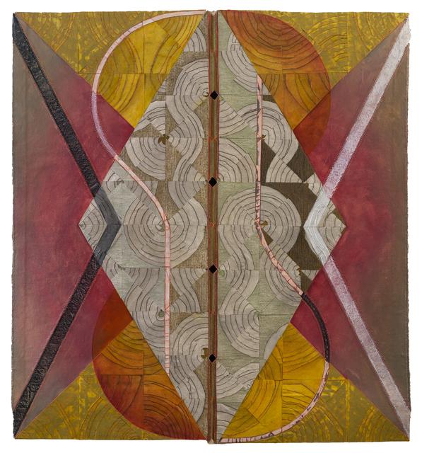 Julia Bland, 'West 西', 2018, Painting, Burnt canvas, linen threads, oil paint 油彩、线、烧灼处理画布, Chambers Fine Art