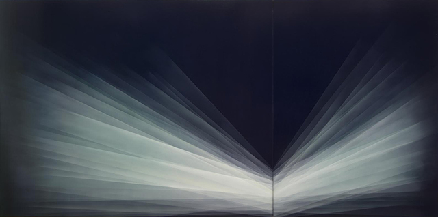 Bernadette Jiyong Frank, 'Refraction Diptych (Midnight Blue-Turquoise)', 2016, Dolby Chadwick Gallery