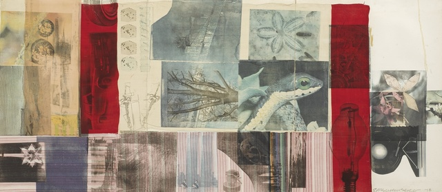 Robert Rauschenberg, 'Enticer', Drawing, Collage or other Work on Paper, Solvent transfer and fabric collage on 3 sheets of joined paper, Sotheby's