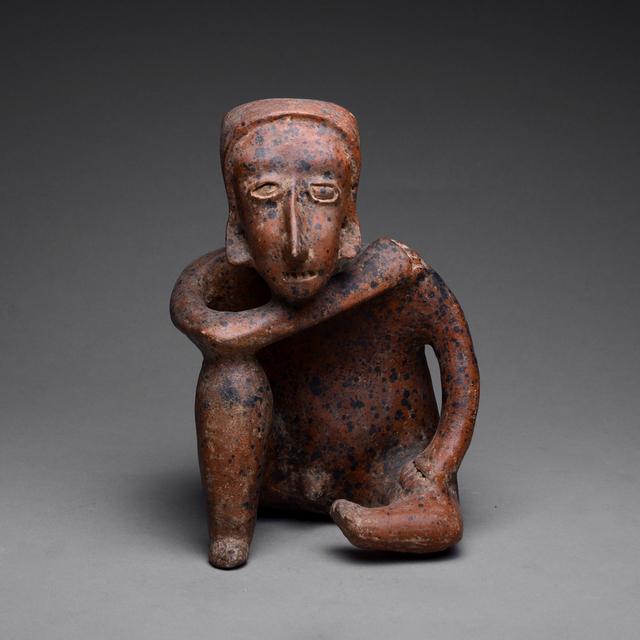 Jalisco, Mexico, 'Ameca-Ezatlán Style Jalisco Terracotta Sculpture of a Seated Man', 300 B.C. to 300 A.D., Barakat Gallery