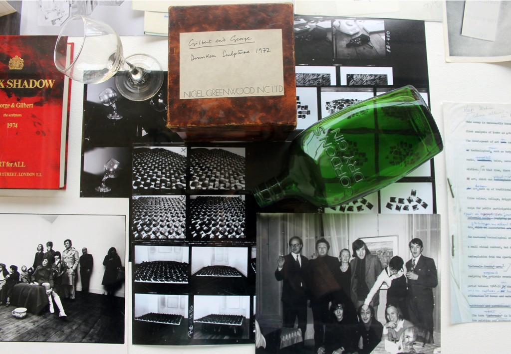 Selected art and ephemera related to Gilbert & George exhibitions at Nigel Greenwood Inc Ltd including Drunken Sculpture, 1972 and Reclining Drunk, 1973