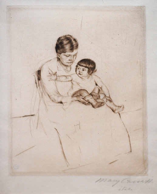 Mary Cassatt, 'The Stocking', ca. 1890, Print, Drypoint Printed in Brown Ink on Green Laid Paper, Contessa Gallery
