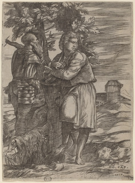 Domenico Campagnola, 'The Shepherd and the Old Warrior', 1517, Print, Engraving, National Gallery of Art, Washington, D.C.