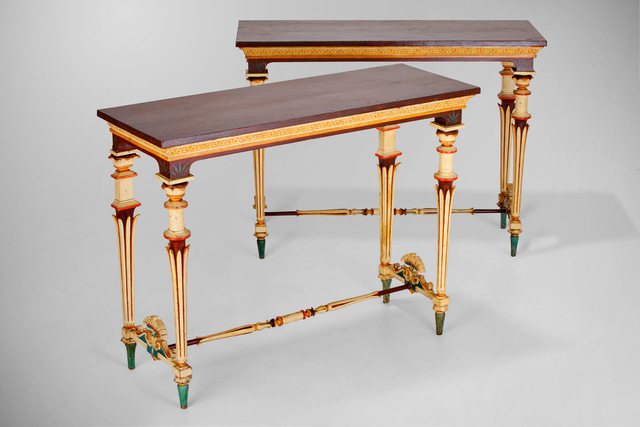 , 'Set of two console tables and six stools,' ca. 1800, BURZIO.