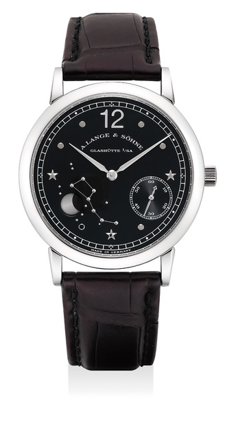 A. Lange & Söhne, 'A fine and rare limited edition platinum astronomical wristwatch with moon phases, guarantee and box, numbered 108 of a limited edition of 150 pieces, made to commemorate 150th anniversary of Emil Lange's birth', Circa 1999, Phillips