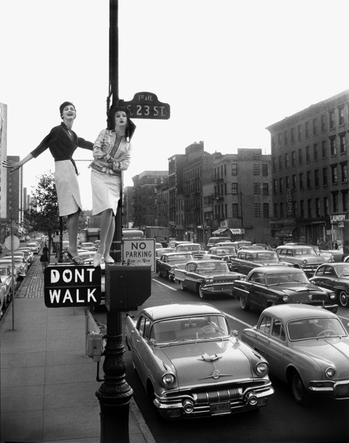 , 'Lamppost, Carmen Dell'Orefice and Betsy Pickering, First Avenue and 23rd Street, Harper's Bazaar,' 1958, Staley-Wise Gallery