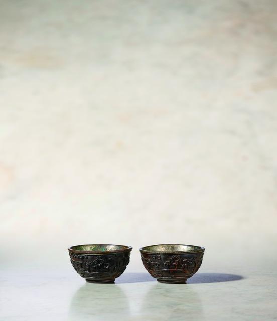Unknown Artist, 'A Pair of Coco De Mer Wine Cups of Circular Form 清康熙 海椰殼雕人物山水酒杯一對', China: Kangxi (1662-1722), Rasti Chinese Art