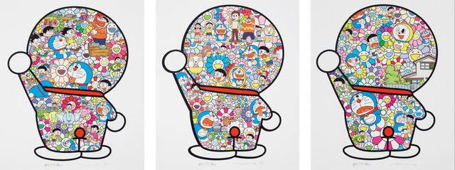Takashi Murakami, 'Doraemon in the Field of Flowers, Mr. Fujiko F. Fujio and Doraemon Are in the Fields, Doraemon's Daily Life (Set of 3)', 2019, Little Art Piece