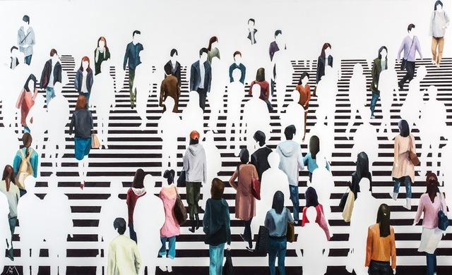 """Martta García Ramo, '""""El Centro de Atención"""" oil painting of pedestrians on black and white crosswalk', 2019, Eisenhauer Gallery"""