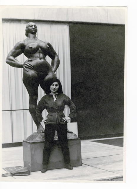 , 'Yoko Ono with Standing Woman (1932) by Gaston Lachaise, The Museum of Modern Art Sculpture Garden, New York. c. 1960–61.,' 1960-1961, The Museum of Modern Art