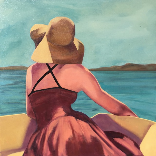 ", '""Afternoon on the Water"" Woman in a Sunhat on a Boat, Blues, Ochre, Reds,' 2010-2018, Eisenhauer Gallery"