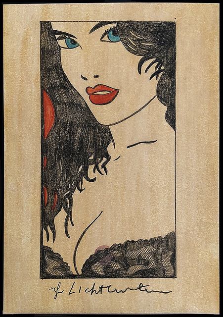 Roy Lichtenstein, 'Woman in Black Lace With Red Lips', 1980's, Drawing, Collage or other Work on Paper, Color Sketch, Original Work, Leviton Fine Art