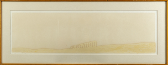 Ed Ruscha, 'Ed Ruscha Pepto Caviar Hollywood Limited Signed Print screen print on colors Pepto, 1971, on Copperplate Deluxe paper', 1971, Modern Artifact