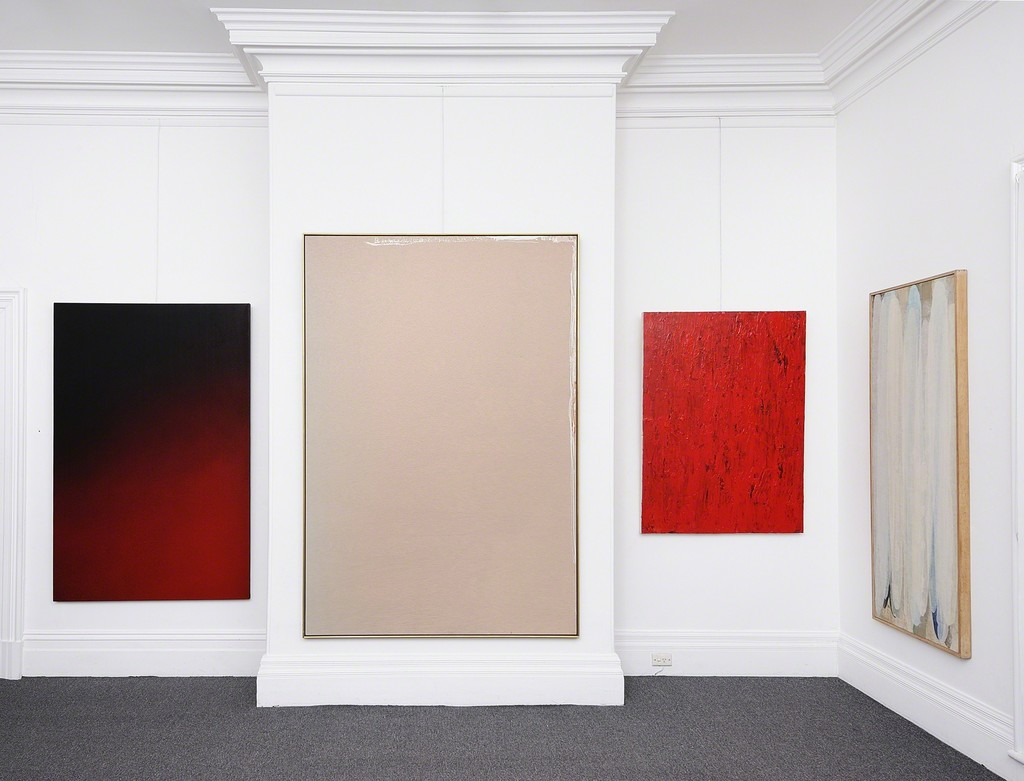 Geoffrey De Groen, Muskoka, 1974 (far left)  Jules Olitski, Habbkuk Radience-10, 1971 (left)  Jon Plapp, Untitled (Red Abstract), 1979 (right) David Rankin, Willow Eyebrows, 1974 (far right)