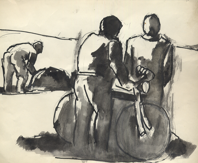 , 'Discussion by Bicycle,' ca. 1975, Boundary Gallery