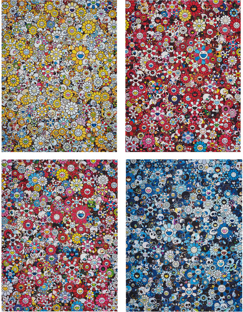 Takashi Murakami, 'MG: 1960 → 2012; Skulls & Flowers Red; Dazzling Circus: Embrace Peace and Darkness Within Thy Heart; and Blue Flower & Skulls', 2012-13; and 2018, Phillips