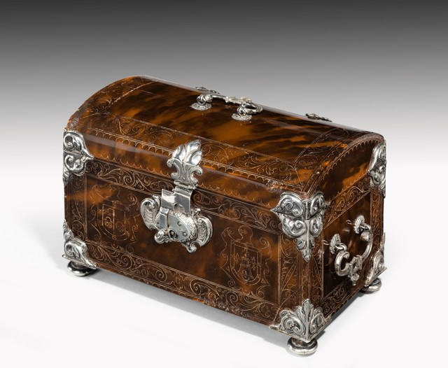 , '17th Century Engraved Tortoiseshell Silver Mounted Casket,' ca. 1615, Thomas Coulborn & Sons