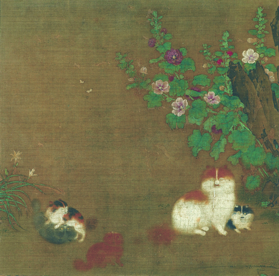 """Important Cultural Property Attributed to MAO Yi  """"Hollyhock and Kittens"""" 12th century, color on silk, hanging scroll, 25.3 x 25.8cm  Collection of the Museum Yamato Bunkakan Exhibition period: July 13-August 7,2019"""