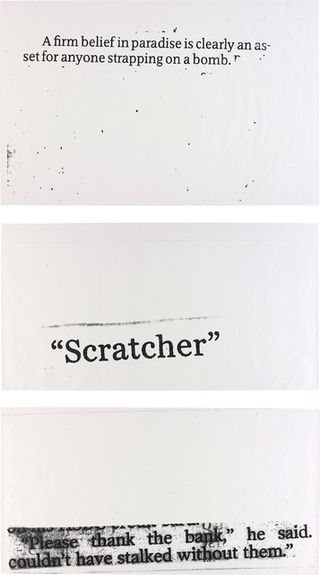 Nate Lowman, 'Three Works: i) Scratcher; ii) Strapping on; iii) Thank the Bank', 2004, Phillips