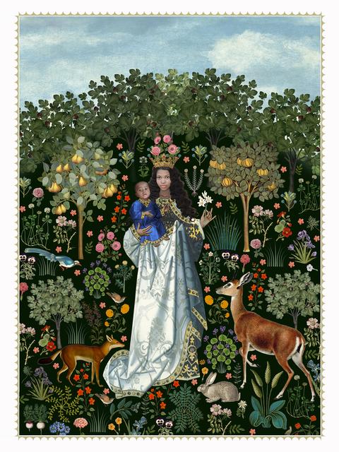 , 'virgin in the rose garden,' 2017, manZArt