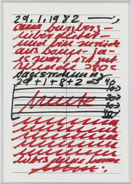 Hanne Darboven, 'Untitled', 1982, Drawing, Collage or other Work on Paper, Red and black felt tip pen on paper, Josée Bienvenu