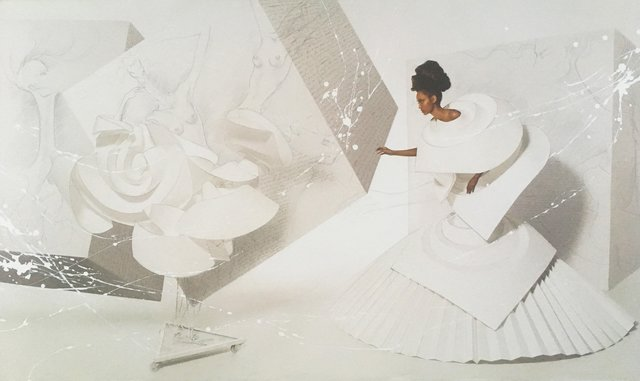 , 'Black Girl in Origami Dress with Rooster II,' 2010, The Art Design Project