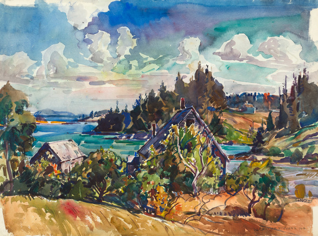 William Lester Stevens, 'Vinalhaven Island, Maine', 19th -20th Century, Drawing, Collage or other Work on Paper, Watercolor on paper, Vose Galleries