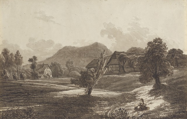 Christoph Nathe, 'Lusatian Landscape with the Landeskrone Mountain', ca. 1790, Drawing, Collage or other Work on Paper, Pen and brown ink with brown wash over graphite on laid paper, National Gallery of Art, Washington, D.C.